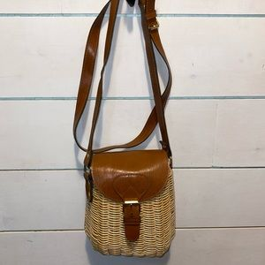 Vintage wicker basket purse with leather handle
